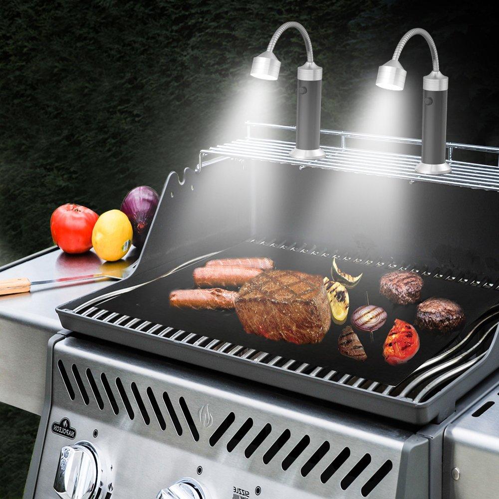 Due Confezione Luce della Griglia, LUXJET 9LED Barbecue Luce, Luci Luminose BBQ Lampada per Barbecue, Camping,alimentato da 3 batterie AAA o 1x batteria 18650 (non inclusa)