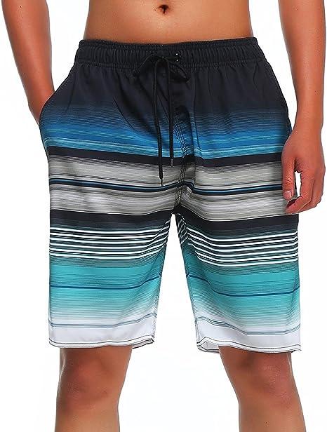 Mens White Stars Quick Drying Breathable Surf Pants Swim Trunks