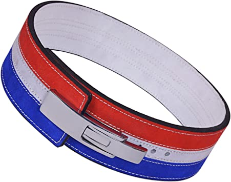 Blue Weight Power Lifting Leather Lever Pro Belt Gym Training Powerlifting