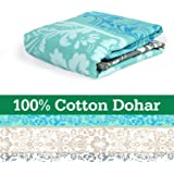 Divine Casa 100% Cotton Reversible Youth Blanket/Duvet Easyweight, AC Single DOHAR, Floral- Grey