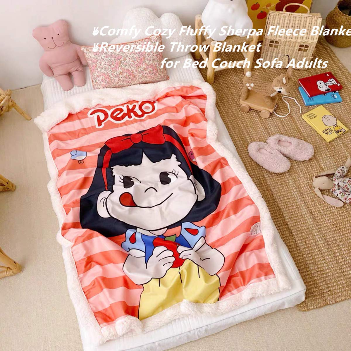 Kids Plush Sherpa Throw Fleece Blanket Super Soft Comfy Fluffy Warm Couch Sofa Blanket for Boys//Girls Reversible Cozy Bedding Blanket Sailor Moon Pink, 40 x 60 Watching TV fit Reading Outdoors