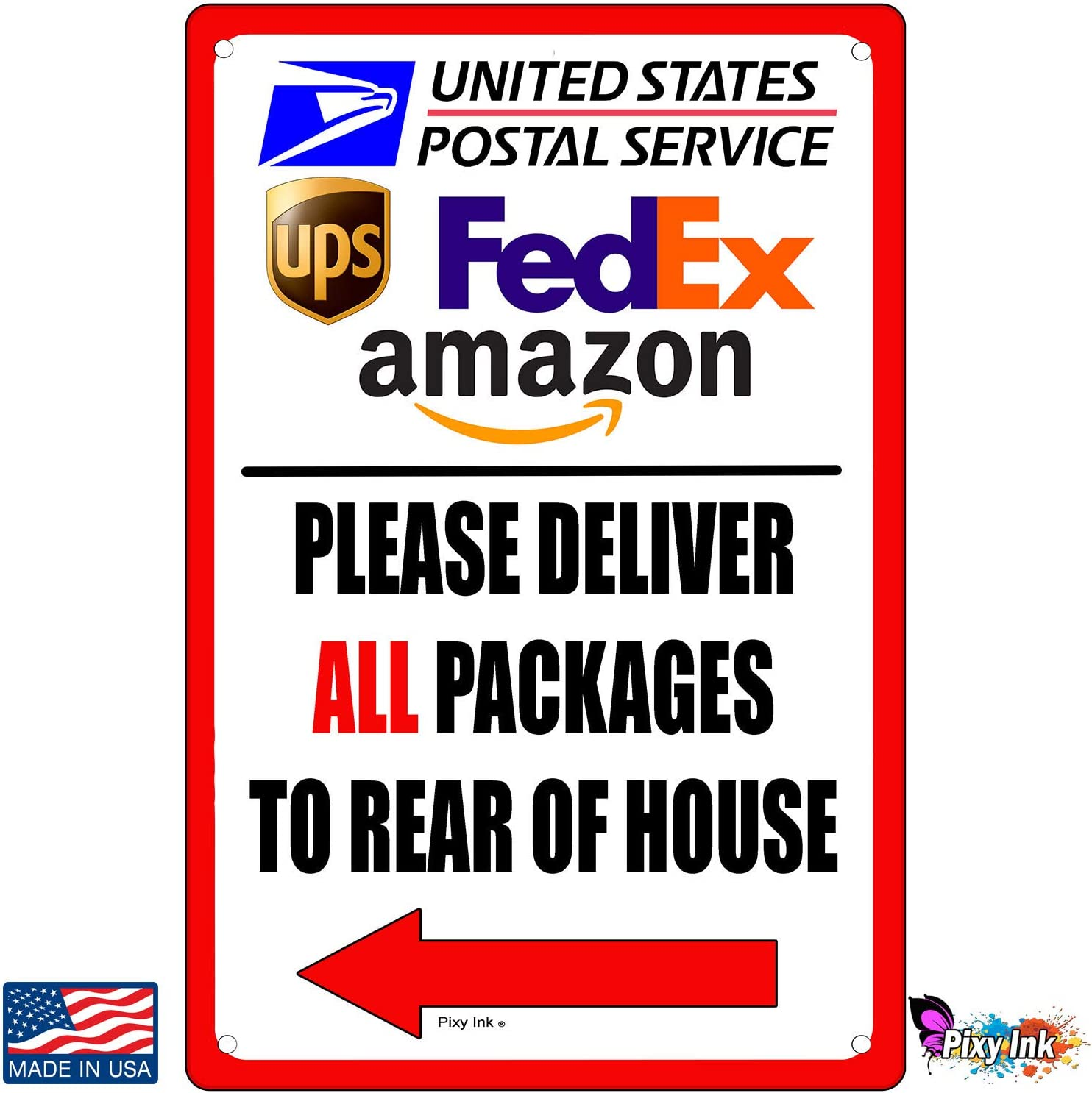 """A Pleasant Reminder to Delivery People to Follow Rust-Free Plastic at 12x8 0.06/"""" an Vivid Design Plus UV Protection to Last Longer Deliver All Packages to Side Door Sign Perfect Gift"""
