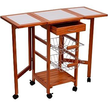 homcom portable rolling tile top drop leaf kitchen trolley cart: leaf kitchen cart