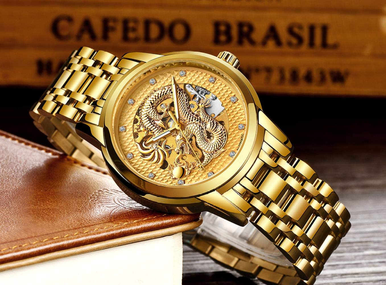 Herrklockor, rostfritt stål vattentät automatisk mekanisk drake klocka Steel Gold Black