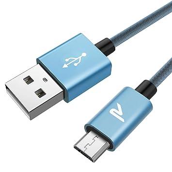 Rampow Cable Micro USB 2M Carga Rápida -Garantía De Por Vida- 2.4A Cable USB Sincro y Carga USB Compatible con Android, Samsung Galaxy, Kindle, Sony, ...