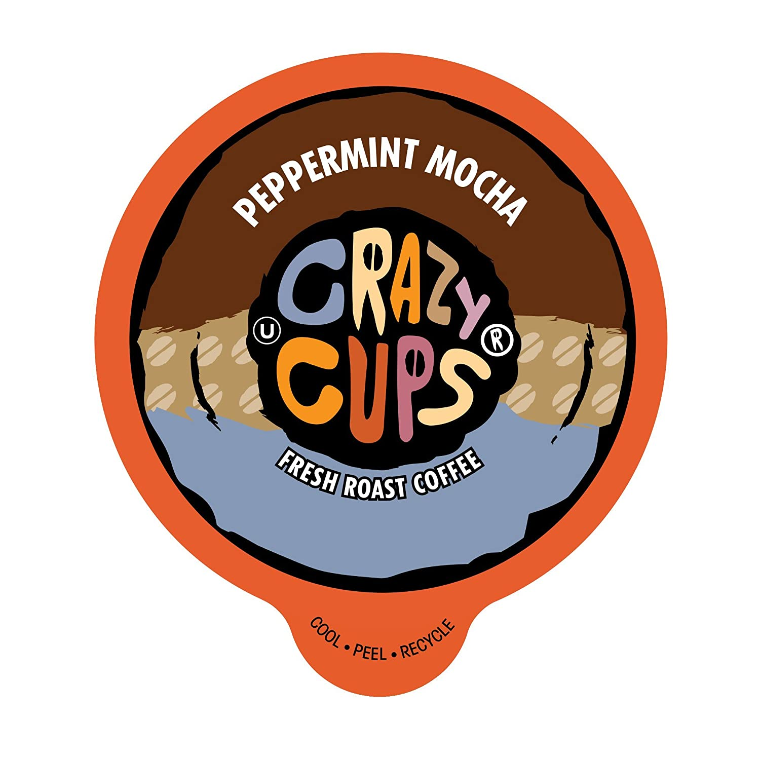 Crazy Cups Flavored Coffee for Keurig K-Cup Machines, Peppermint Chocolate Mocha, Hot or Iced Drinks, 22 Single Serve, Recyclable Pods