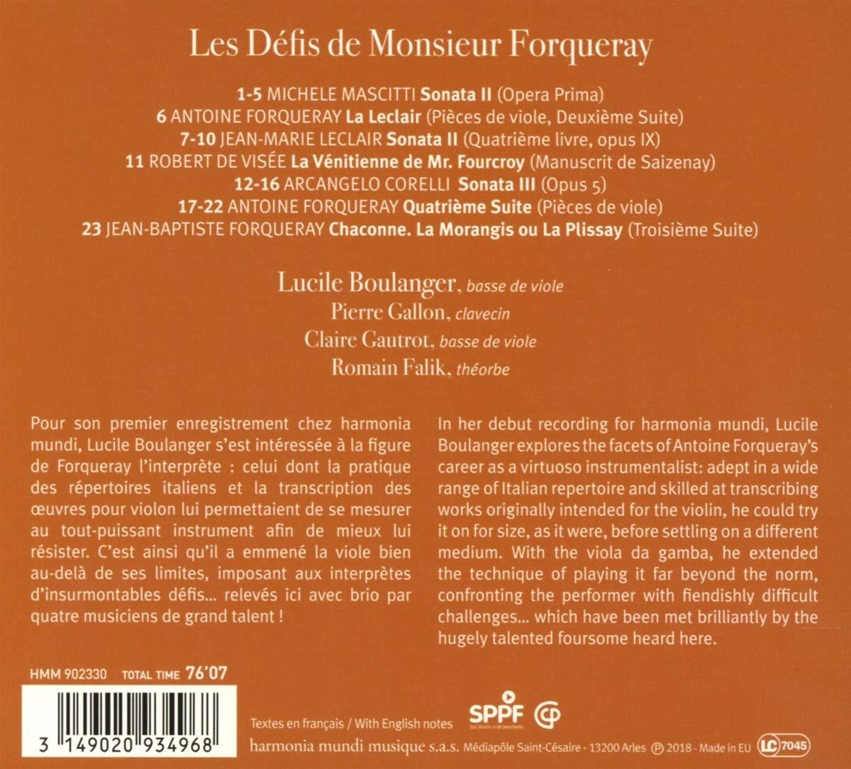 Les Défis de Monsieur Forqueray: Lucile Boulanger Pierre Gallon Clai, Forqueray/Leclair: Amazon.fr: Musique