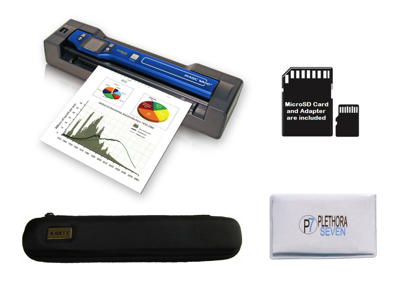 Vupoint ST470 Magic Wand Portable Scanner with Auto-Feed Docking Station + Hard Protective Travel Carrying Case + 8gb MicroSD Card - 1200dpi, PDF/JPEG, 1.5 LCD - for Photo, Document, Receipt (Blue)