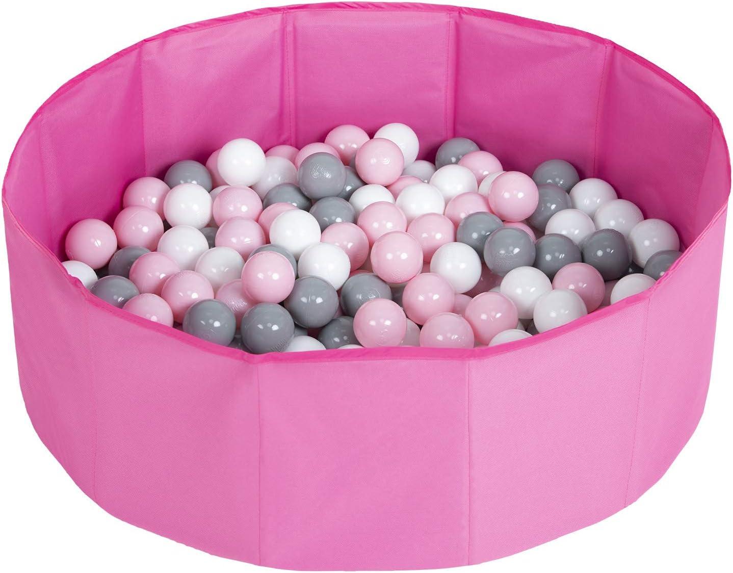 Selonis Piscina Plegable con Bolas Coloridas De 100 Bolas NZ-78-BLUE, Rosa:Blanco/Gris/Rosa Claro