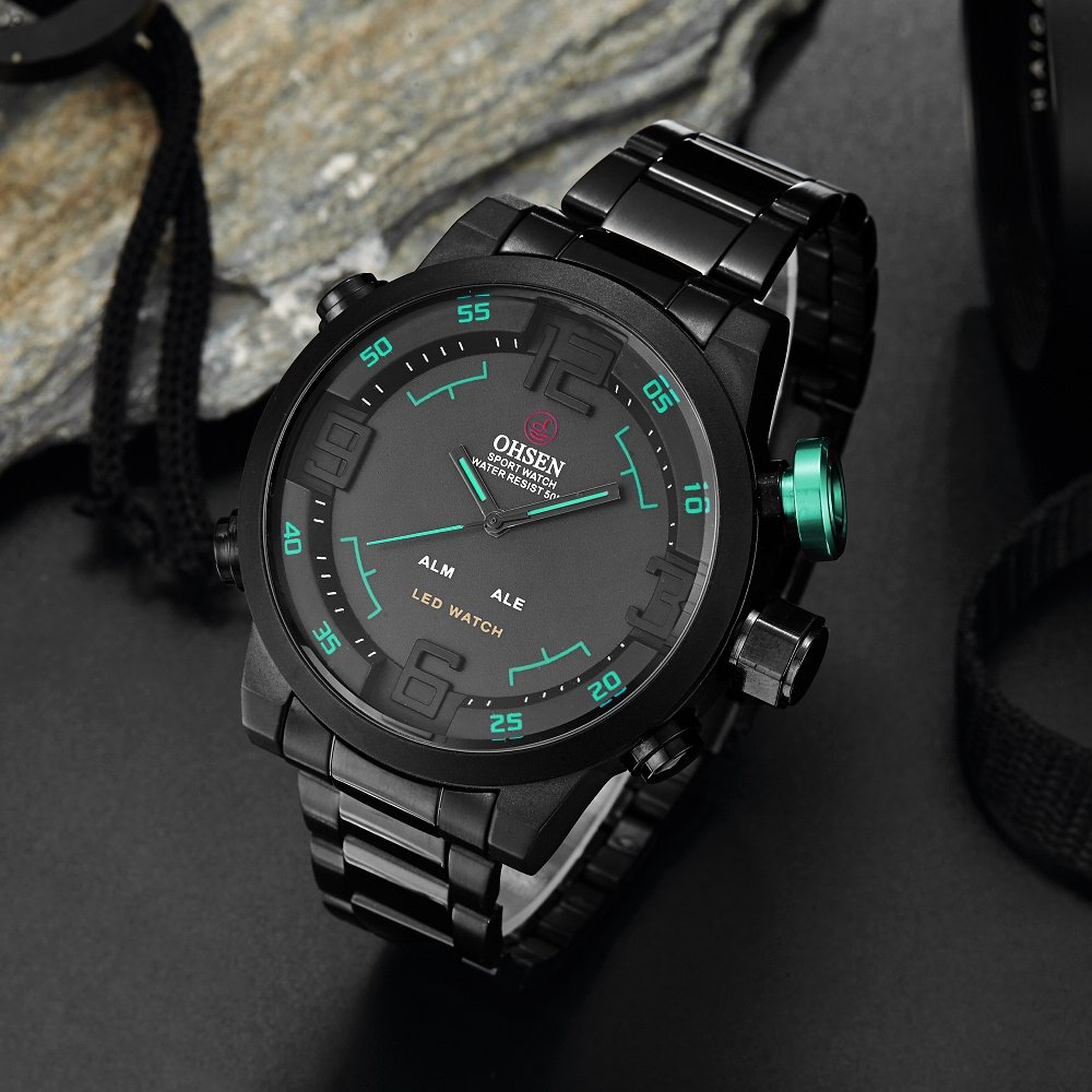 Amazon.com: ShoppeWatch Mens LED Watch Black Metal Band Dual Time Date Day Sport Reloj de Hombres Green Hands OH-253: Watches