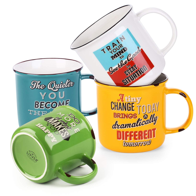 LIFVER 18 oz Coffee Mugs Set of 4, Large Porcelain Mugs for Coffee, Tea, Cocoa, Retro Style Coffee Mugs, Multi Colors