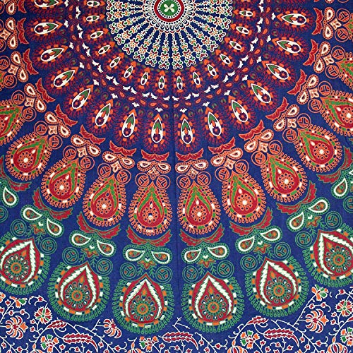 (Handmade Cotton Sanganer Peacock Floral Tablecloth Rectangular 60 x 90 inches Red Off White Orange Green)
