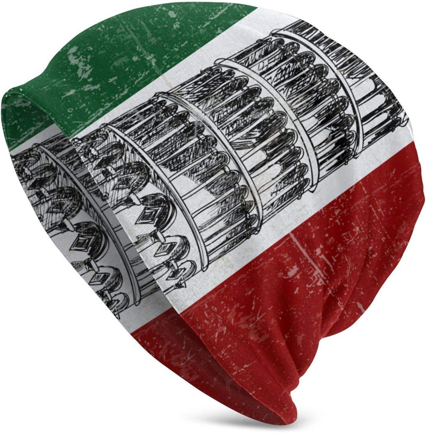 QUEMIN Hombres Torre de Pisa Bandera Italiana Águila Negra y Bandera de Alemania Gorro de Calavera Gorro elástico Gorras holgadas Sombreros de Moda de Punto de Invierno para Mujeres y Hombres