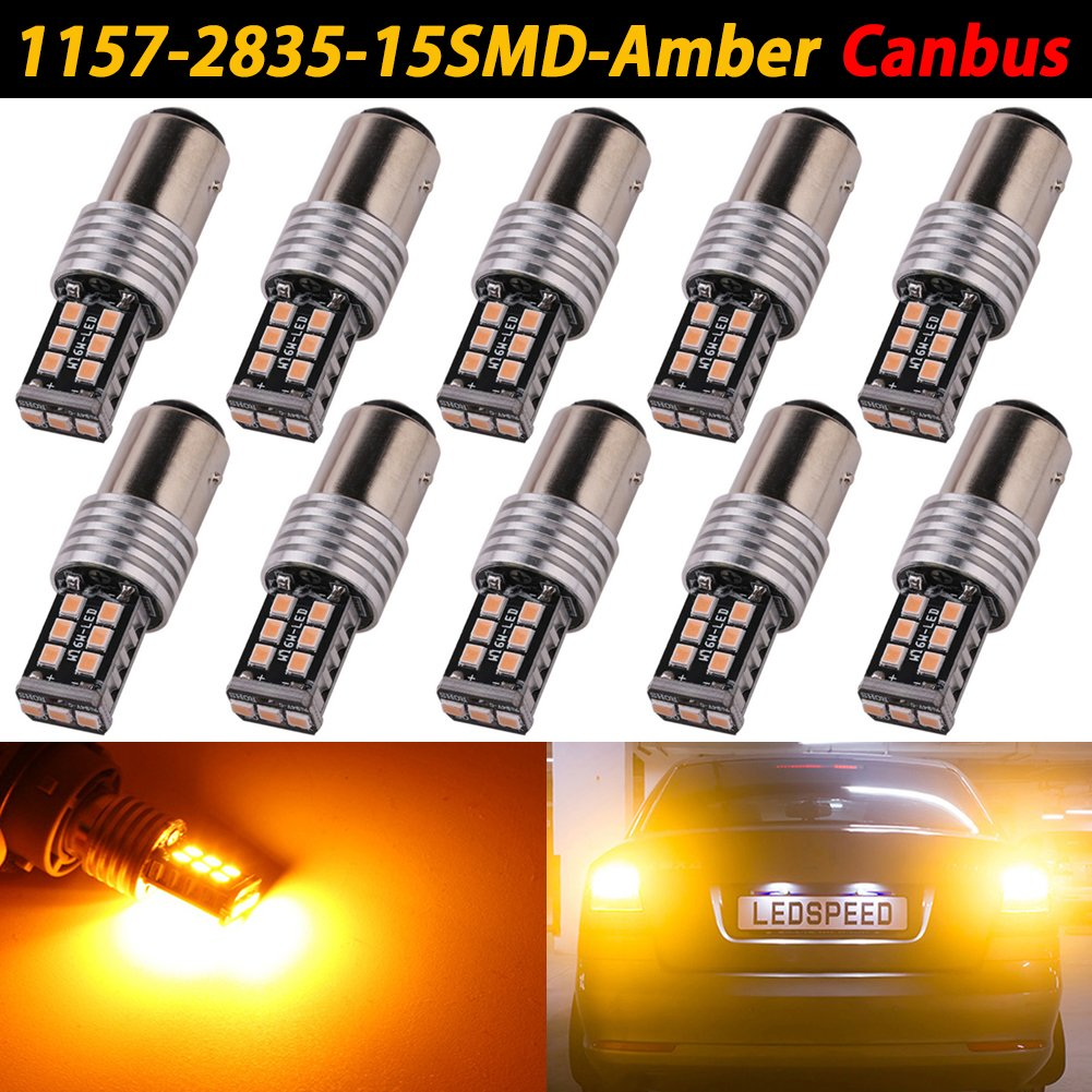 TABEN 10 x CanBus Error Free Super Bright 1157 2835 15-EX Chipsets 7443 7440 7440NA 7444NA LED Bulbs Used For Backup Reverse Lights, Xenon White