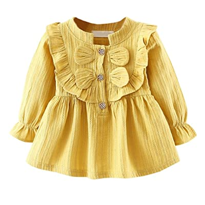 AliveGOT Baby Girls Spring Clothes Plicated Long Sleeve Bowknot Party Princess Dresses