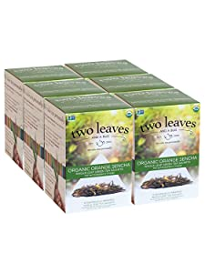 Two Leaves and a Bud Organic Orange Sencha Green Tea Bags, Whole Leaf Green Tea in Sachets, 15 Count (Pack of 6)