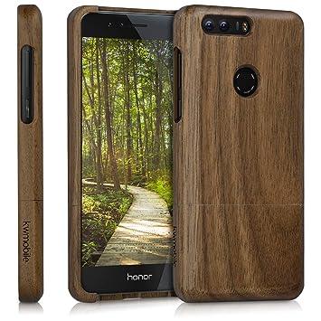 kwmobile Funda para Huawei Honor 8 / Honor 8 Premium - Carcasa Protectora de [Madera] para móvil - Case [Duro] en [marrón Oscuro]
