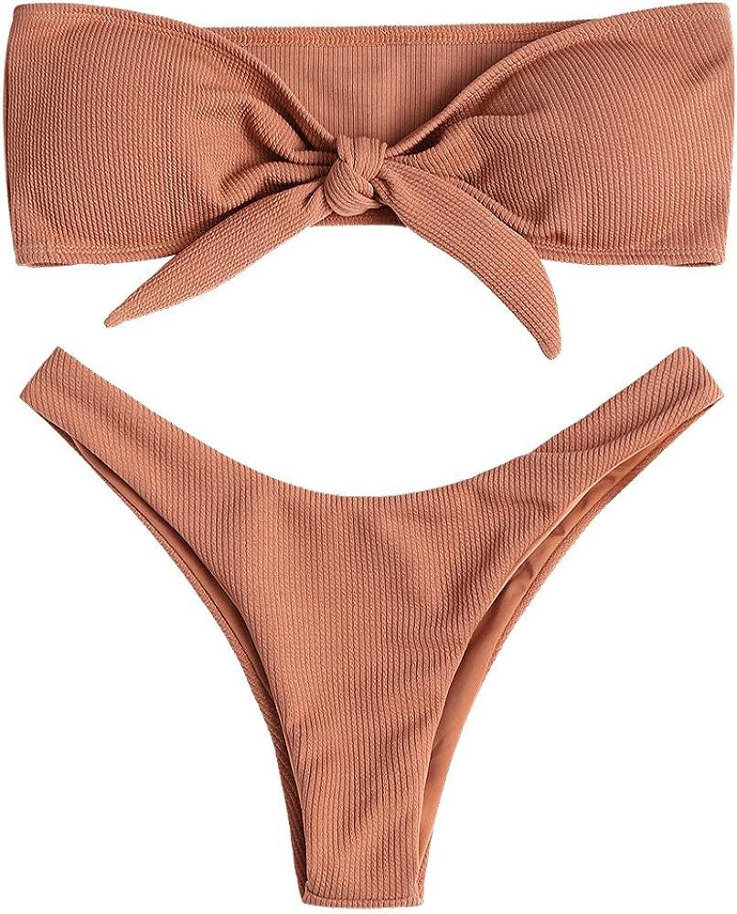 ZAFUL Damen Sommer Einfarbiges Geknotetes Bikini-Set Gerippter Badeanzug Hoch geschnittener Tanga Bademode