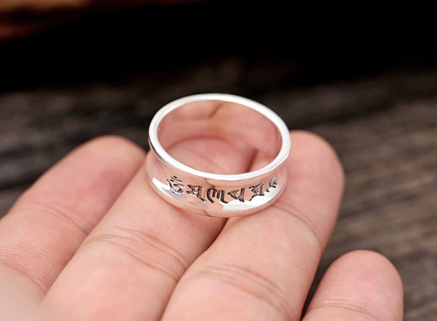 Aokarry 925 Sterling Bands Rings Silver Buddhism Six Word Mantra ...