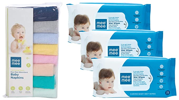 Mee Mee Absorbent Baby Napkins, Multicolor  Pack of 8   amp; Caring Baby Wet Wipes with Aloe Vera  72 pcs/Pack   Pack of 3  Combo