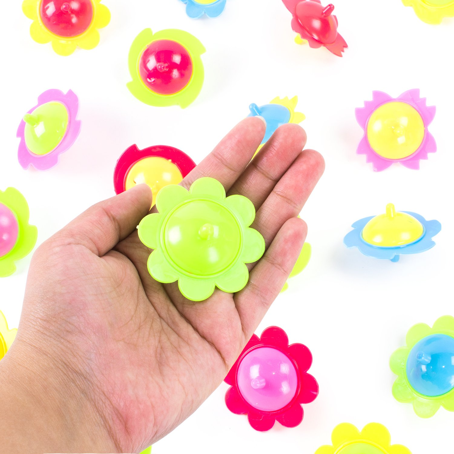 Mini Hand Finger Spinner Tops Twisting Plastic Flower Prize Toys for Children Birthday Party Favors (36 Pack) by Super Z Outlet