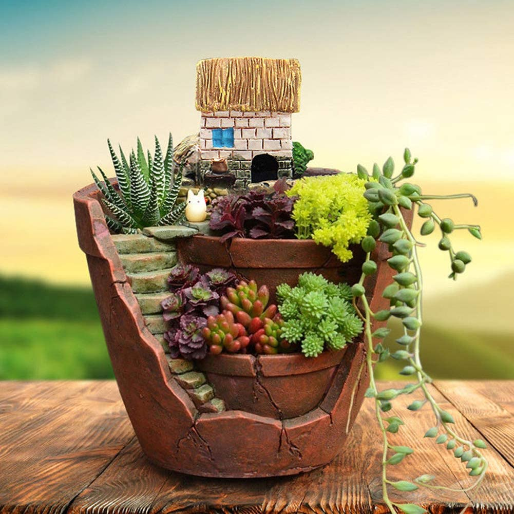 Flower Pot,Cactus Succulent Plant Flower Planter Succulent DIY Container Decorated with Mini Hanging Fairy Sweet House for Holiday Decoration and Gift (House Type)