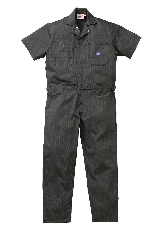 713 Dickies ディッキーズ (ストライプ)夏用 半袖つなぎ 作業着ツナギ ユニフォーム 【S~5Lサイズ展開】 B01GRLYK88 4L|ブラック