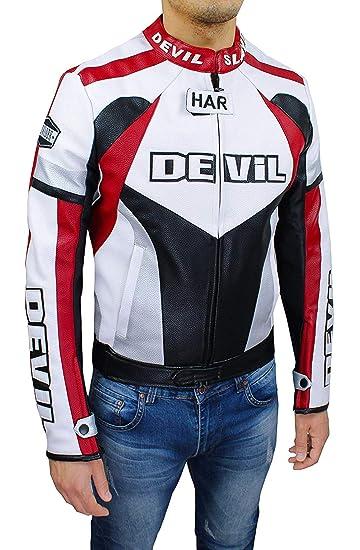 Devil - Chaqueta de Moto para Hombre Tecnica ManS Jacket de Piel sintética