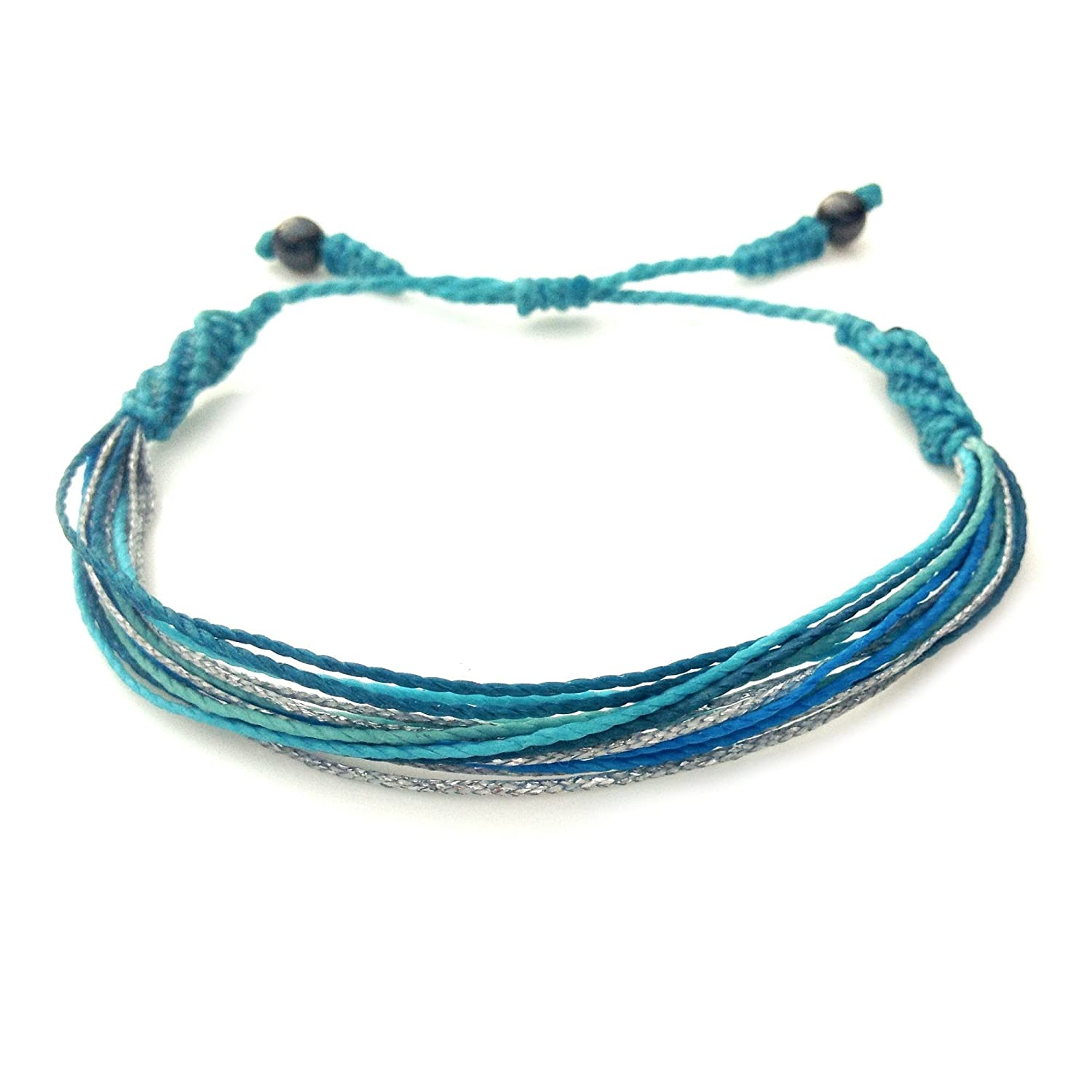Mens and Womens Hawaii String Surf Bracelet with Hematite Stones in Aqua Blues and Metallic Silver: Handmade Pull Cord Ocean Surfer Bracelet by Rumi Sumaq