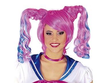Juguetes Fantasia - Peluca rosa coletas