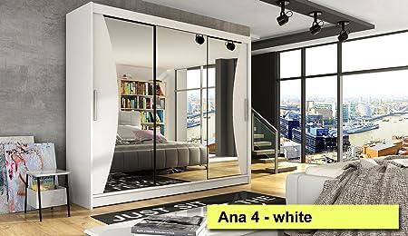 Armario puertas correderas Ana 4 blanco 250 cm de ancho muchos colores: Amazon.es: Hogar