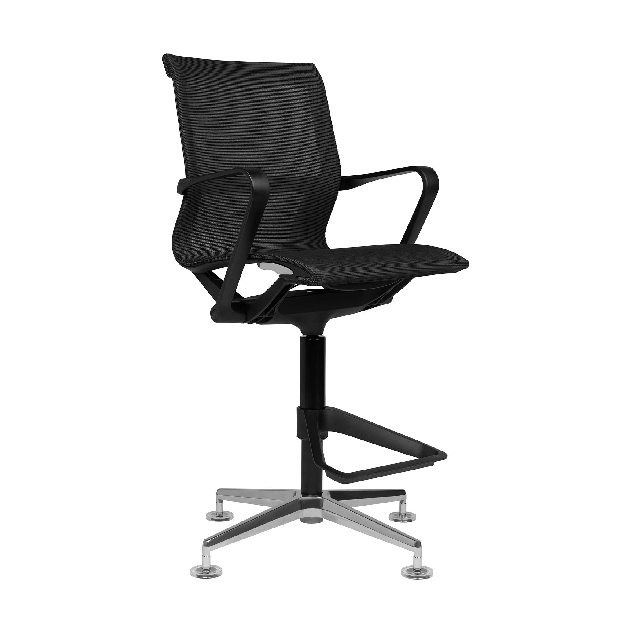 Empire Mesh Drafting Chair - Ergonomically Designed and Commercial Grade Draft Height (Black) by Laura Davidson Furniture