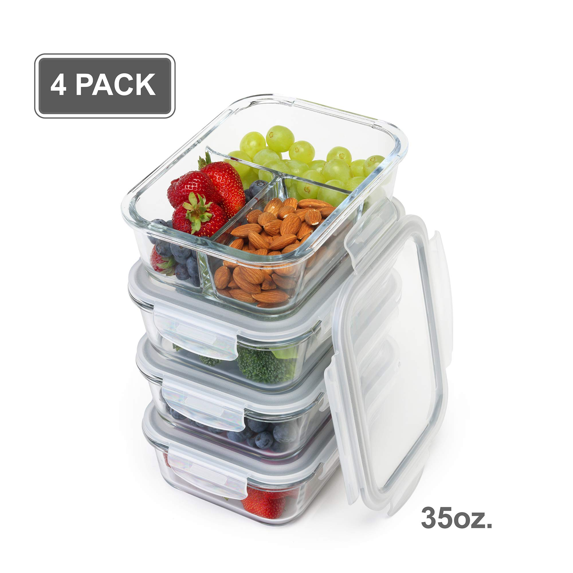 [4-Pack] Glass Meal Prep Containers - Bento Box Food Storage Containers - 1+2+2+3 Comp - Leak Proof lids - BPA FREE - Lead Free - FDA Authorized - Dishwasher, Oven, Microwave, Freezer Safe [35 Ounce]