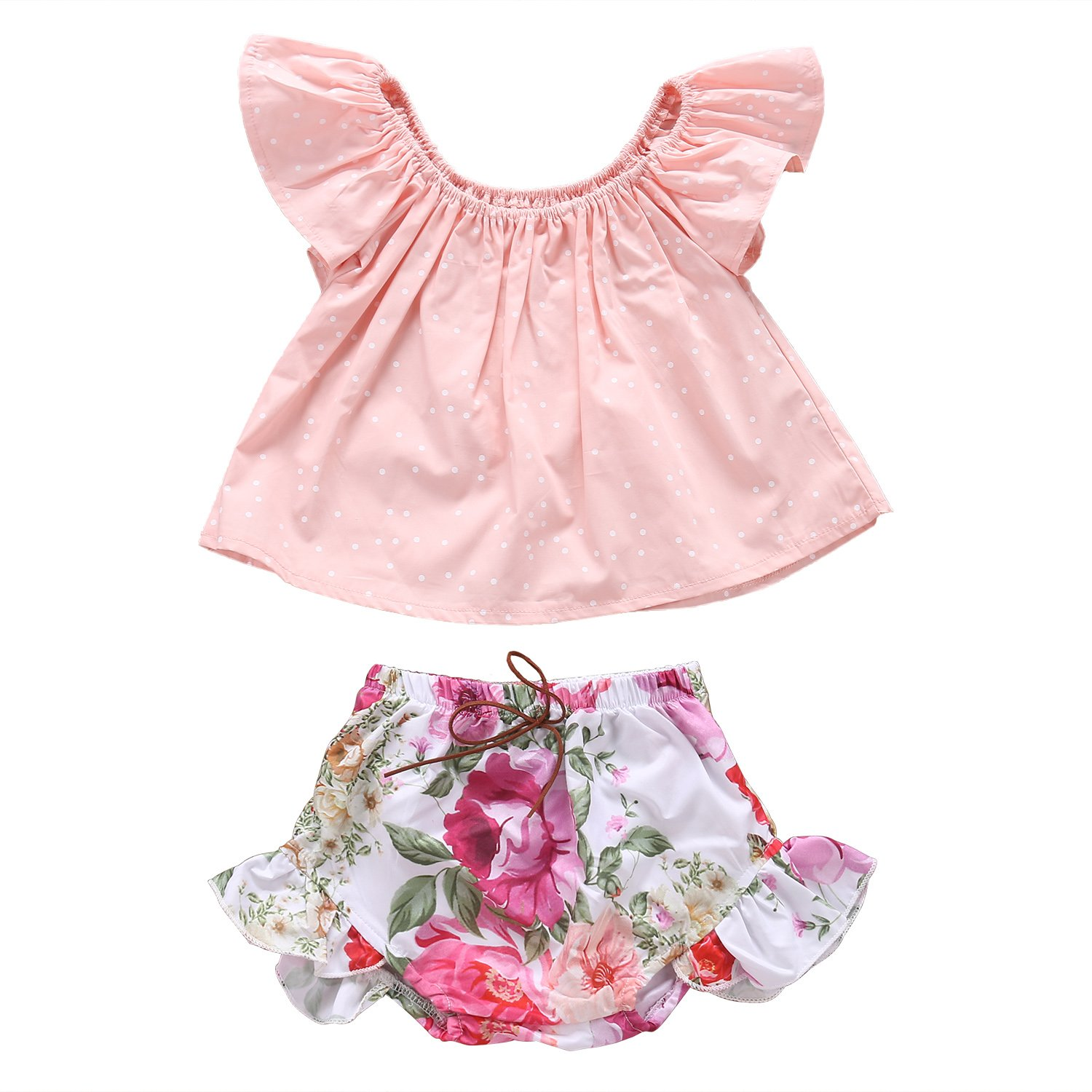 Newborn Baby Girls Ruffle Pink T-shirt + Floral Flowers Shorts Outfits Clothes Aliven