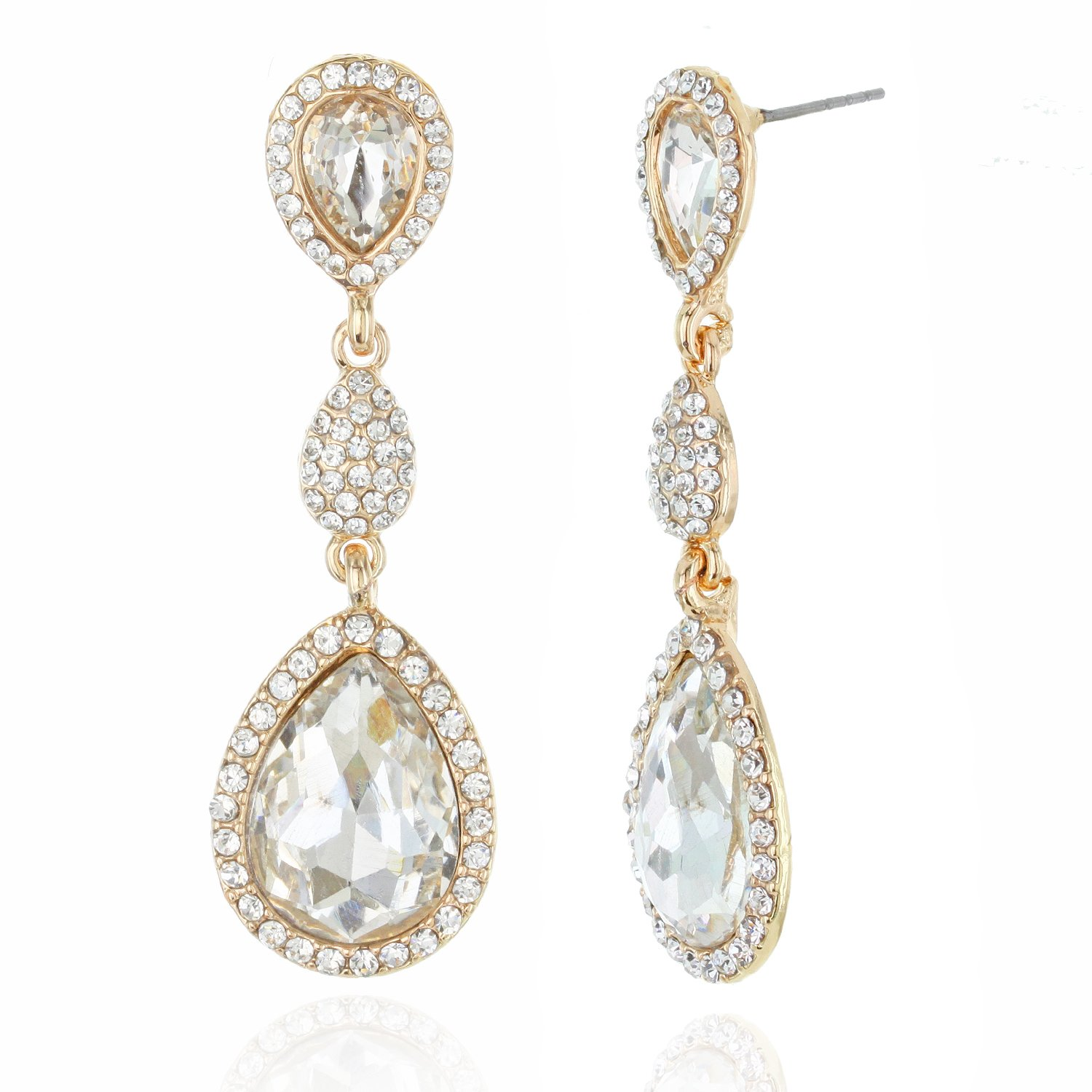 Bridal statement Jewelry Halo Tear Drop Dangle Austrian Crystal Accented Earrings in Gold