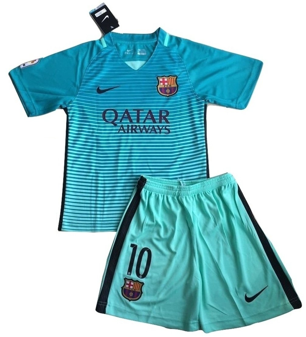 3abf1f234c3 Galleon - 2016 2017 Messi  10 FC Barcelona Champions League Third Jersey   Shorts  For Kids Youth (Age 11-13 Years Old)