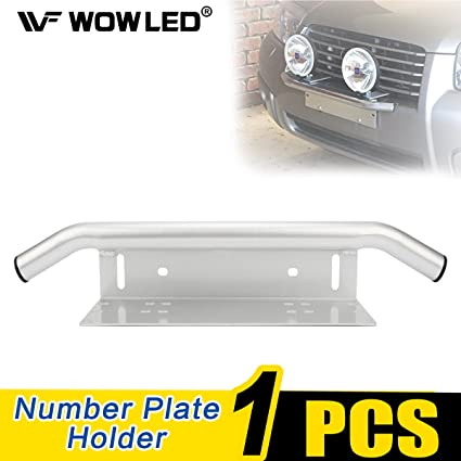 WOWLED License Number Plate Mounting Bracket with Front Bull Bar Bumper for  LED Driving Light Bar Work Lamp (Universal fits for Truck SUV 4X4 4WD