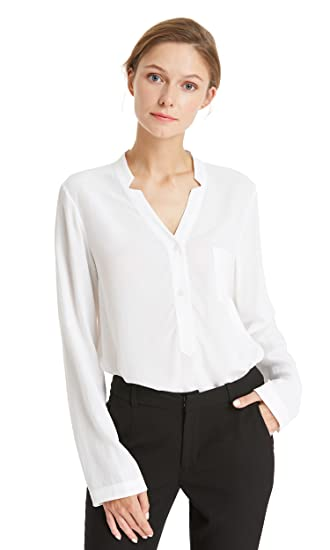 dbbe9a34933fb LILYSILK 18MM Concise V Neck Silk Shirt Blouse Women Ladies Top Natural  White Size S  Amazon.co.uk  Clothing