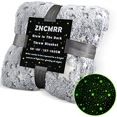 "ZNCMRR Glow in The Dark Throw Blanket for Kids, Premium Super Soft Stars Pattern Fluffy Plush Furry Blanket, Halloween Blanket 50"" x 60"" Gray: Home & Kitchen"