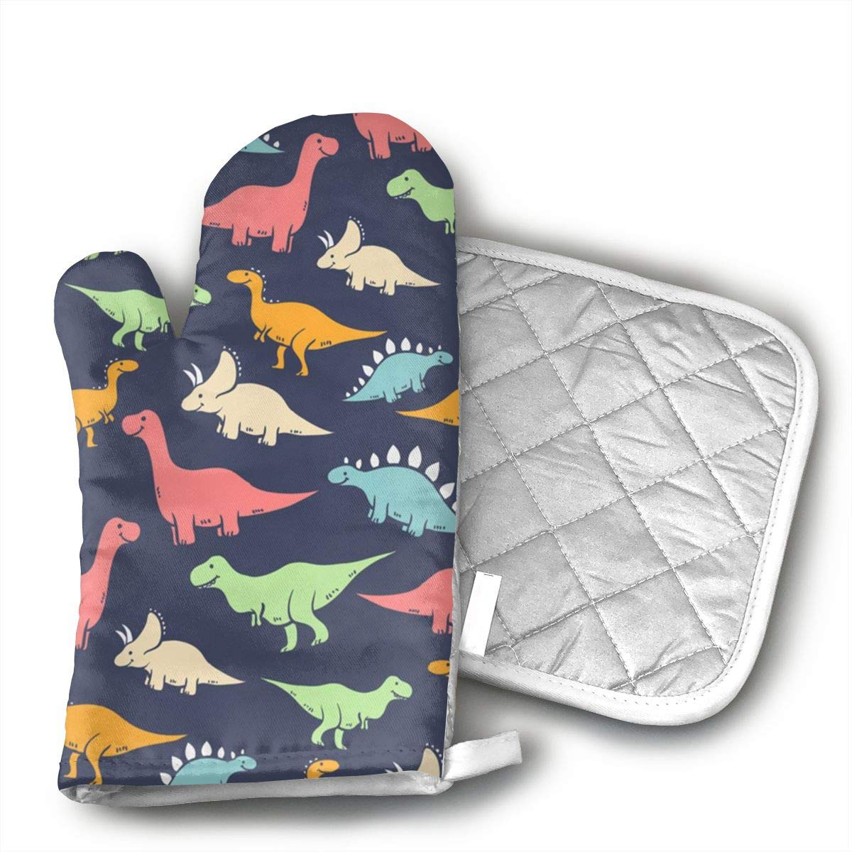 Wiqo9 Cartoon Dinosaur Oven Mitts and Pot Holders Kitchen Mitten Cooking Gloves,Cooking, Baking, BBQ.