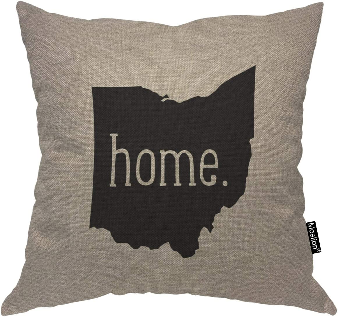 Moslion Throw Pillow Cover Home 18x18 Inch Ohio State Lettering Symbol Gray Black Square Pillow Case Cushion Cover for Home Car Decorative Cotton Linen