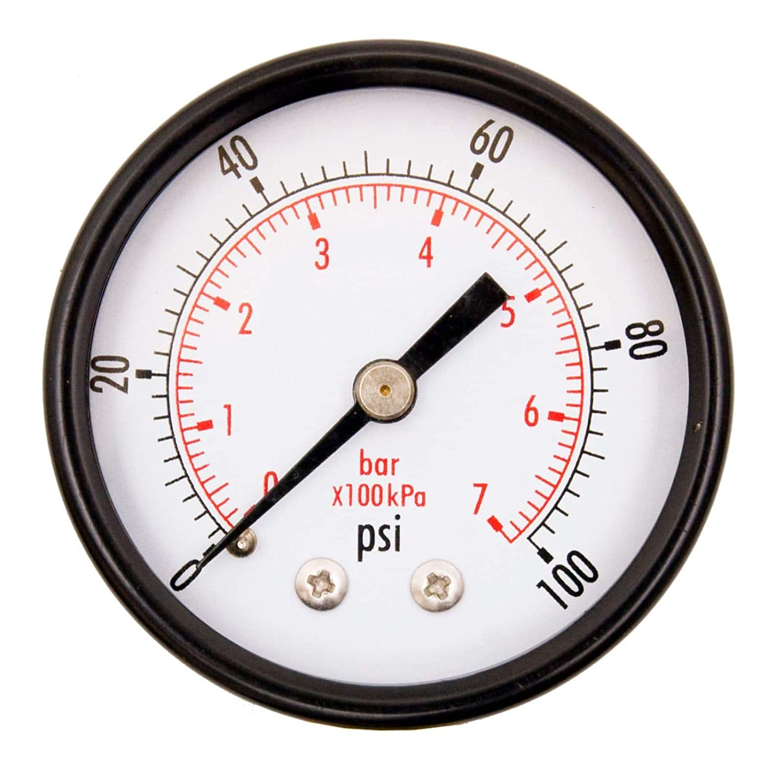 "DuraChoice 2"" Dial Utility Pressure Gauge, Water Oil Gas, 1/4"" NPT Center Back Mount, Black Steel Case, 0-100 PSI"