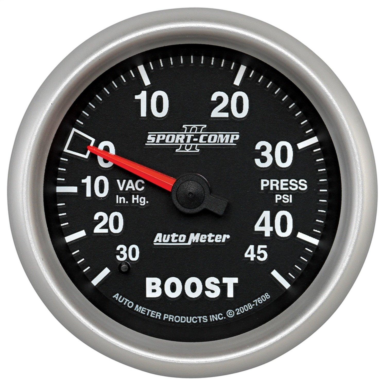 Auto Meter 7608 Sport-Comp II 2-5/8'' 30 in. Hg/45 PSI Mechanical Vacuum/Boost Gauge