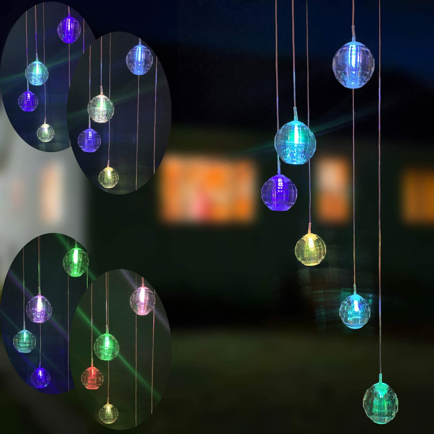 Eleven Direction Solar Wind Chimes Garden Decorations,Outside Aotu Color Changing Solar Lights,Gobile Decoration for Outdoor Lawn Patio Yard Party