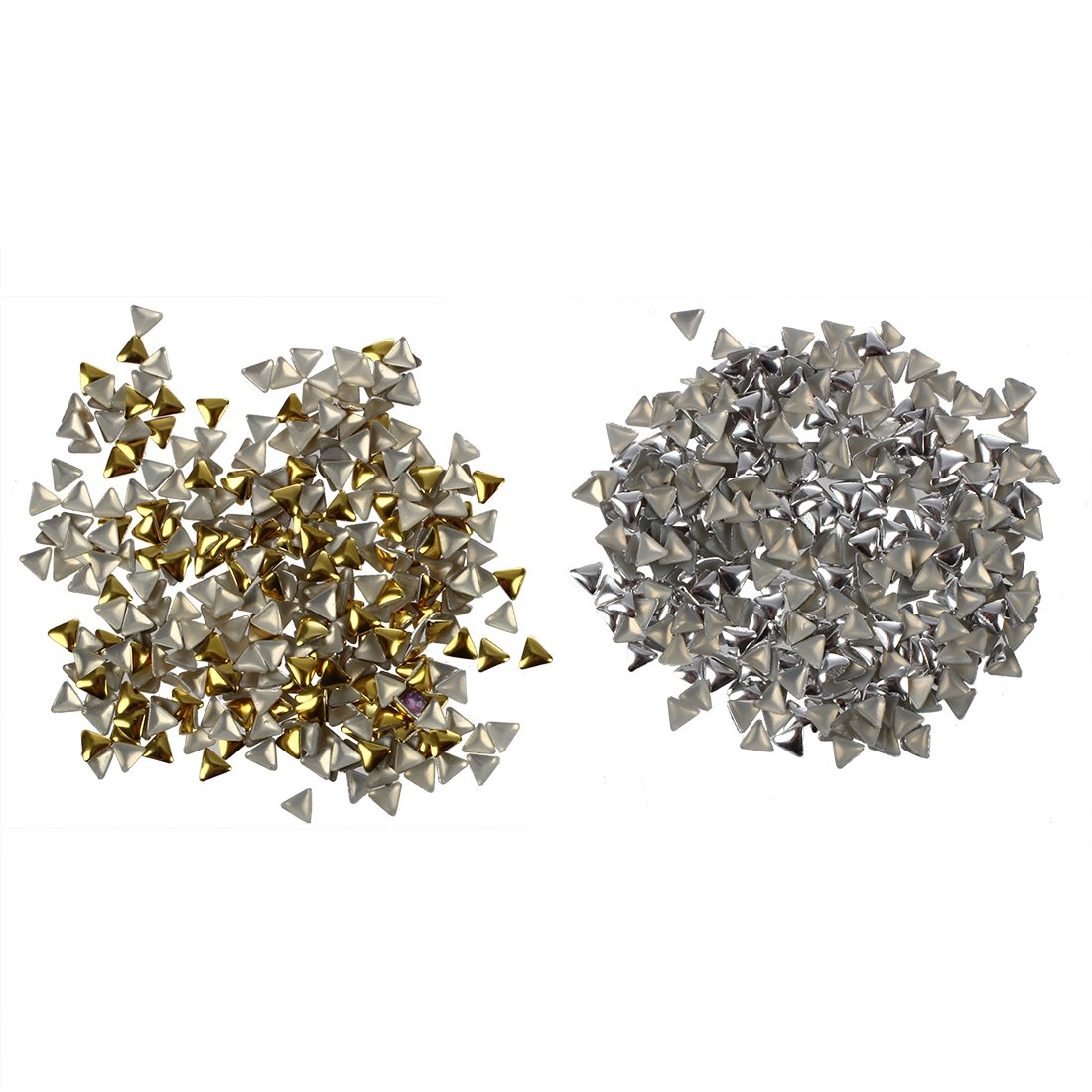 SODIAL(R) Nail Art Triangle Design Nail Studs for Nails, Cellphones £¨Gold + Silver£© 013073