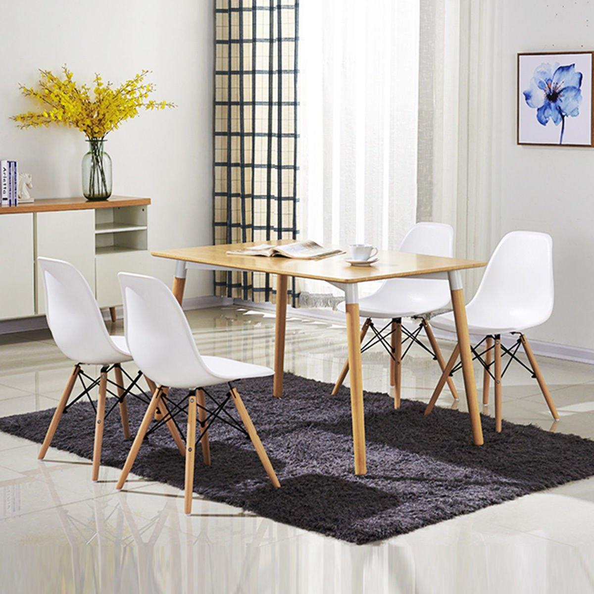 Amazon.com: costway Conjunto de 4 estilo de Eames Silla Mid ...