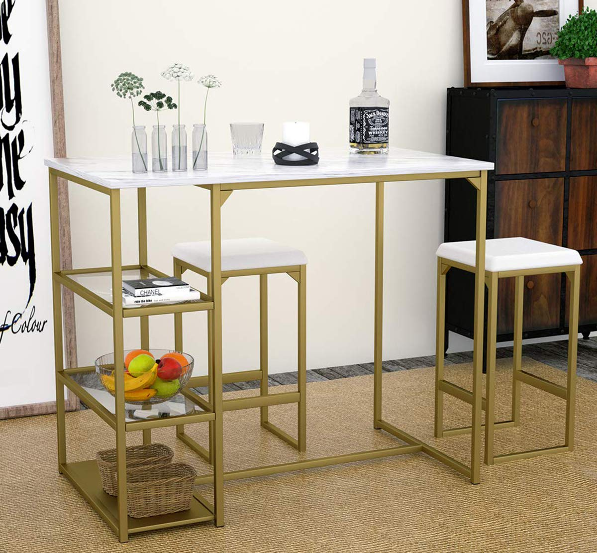 Modern 3 Piece Counter Dining Table Set with 2 Bar Stools and Metal Frame and Shelf Storage,Brass Pub Set with Faux Marble Top by Amooly
