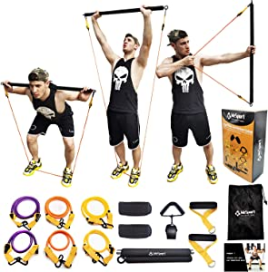 Hackers Full Body Portable Gym System,Bow Bar Equipment with Resistance Bands Set for Exercise at Home, Office
