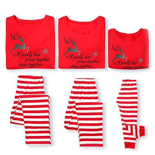 6447784b2c Amazon.com: Matching Family Christmas Pajamas Set - 2 Piece Pjs Sets  Holiday Pjs Red White Stripes Xmas Sleepwears Mom,Dad,Kids: Clothing
