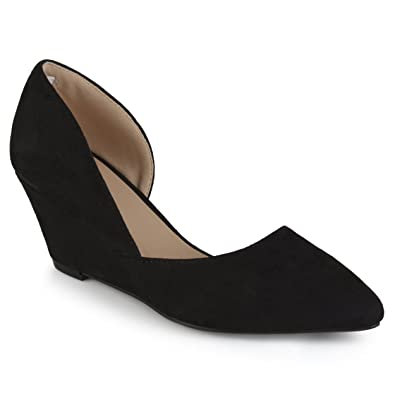 bfea579b491 Journee Collection Womens Faux Suede D Orsay Pointed Toe Wedges Black